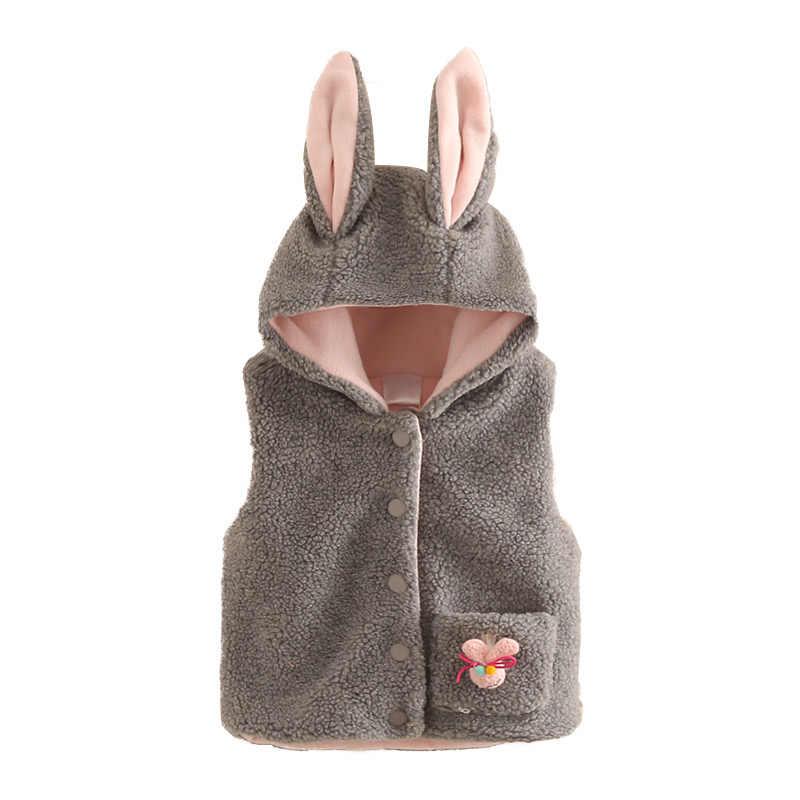 Filles Outwear & manteaux 2018 hiver chaud nouvelle mode 2-6 7 8 9 10 ans Animal oreille chapeau velours côtelé manteau pour enfants bébé fille à capuche gilets