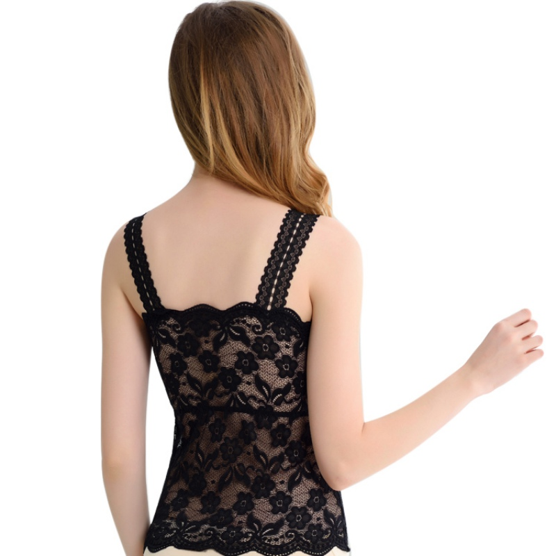 Image 5 - 2019 New Women Sexy Lace Bralette Bra Bustier Top Black Cropped Blusas Vest Tank Tops Camisole haut femme-in Tank Tops from Women's Clothing