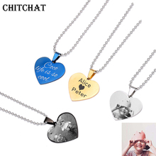 Customized Photo Name Necklace Stainless Steel Engrave ID Dog Tag Heart Pendant Chain For Woman Jewelry Personalised Gift vnox personalized medical necklace pendant stainless steel emergency id dog tag jewelry free engrave service