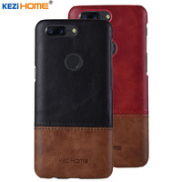 Case For OnePlus 5T KEZiHOME Luxury Hit Color Genuine Leather Hard Back Cover Capa For OnePlus
