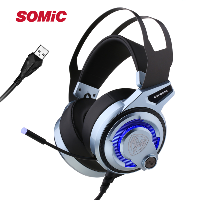 SOMIC G949DE 7.1 Virtual Sound Gaming Headset LED Noise Cancelling Headphone with Dual Engine 4 Speakers USB Plug for PC GamesSOMIC G949DE 7.1 Virtual Sound Gaming Headset LED Noise Cancelling Headphone with Dual Engine 4 Speakers USB Plug for PC Games