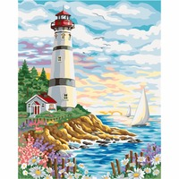 Seaside Scenery Painting By Numbers DIY Hand Painted Gift Coloring By Numbers Home Wall Artwork Frameless