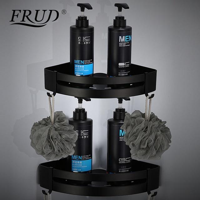 FRUD New Aluminum Bathroom Shelf Black Bathroom Shelves Rack with Hooks Single Dual Tier Wall Mounted Corner Shelf Y38037/Y38038