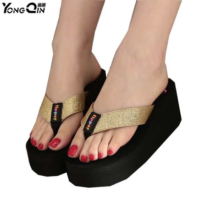 945d107c13e43e Summer Flip Flops Women Sandals 2016 New Wedges Women s Slippers Flip Flops  Fashion High Heels Thick Crust Muffin Sandal
