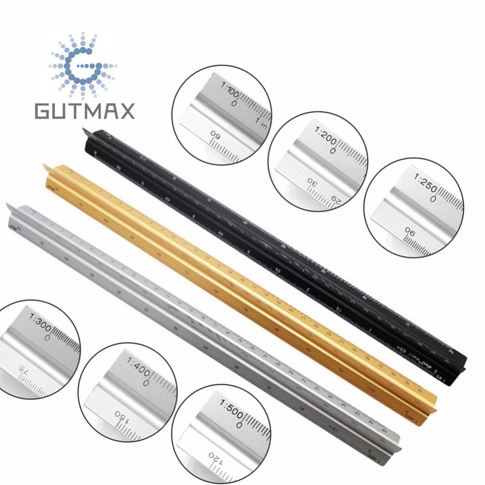 Aluminum Triangular Metric Architect Scale Ruler 1:100/ 1:200/1:250/1:300/1:400/1:500 Proportional Scale