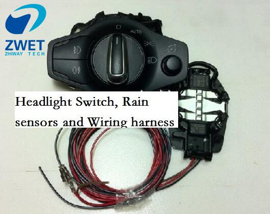 US $31 0 6% OFF|ZWET Car HEADLIGHT SWITCH For Audi A4 B8 S5 A5 headlight  switch Rain sensors and wiring harness for AUDI-in Car Switches & Relays  from