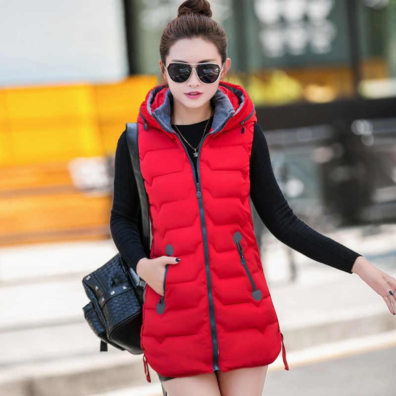 ALMUERK 2019 Winter Frauen Weste Mit Kapuze Unten Warme Weste Lange Ärmellose Casual Frauen Kleidung Feste Plus Größe Weibliche Outwear