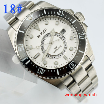43mm Bliger white Dial Sapphire Glass GMT Second time zone Luminous Mark Romantic Sweet Automatic Movement men's Watch