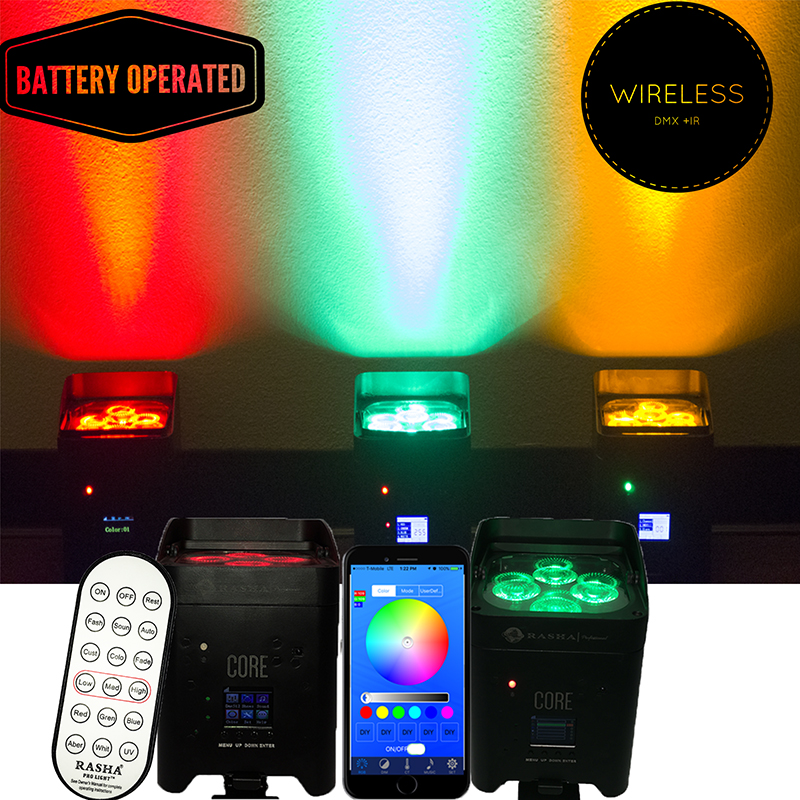 10X Rasha Core Hot Sale 4*18W 6in1 RGBAW UV Battery Operated Wireless LED Par Light APP Mobile LED UPLIGHT Projector For Event freeshipping 10in1 charging flightcase packing 12 18w stage wireless battery flat led par light rgbaw uv 6in1 uplighting par can