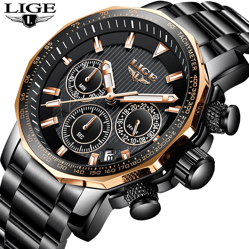 LIGE Mens Watches Top Brand Luxury Military Sport Watch Men Stainless Steel Quartz Watch Waterproof Clock Relogio Masculino+BoxLIGE Mens Watches Top Brand Luxury Military Sport Watch Men Stainless Steel Quartz Watch Waterproof Clock Relogio Masculino+Box