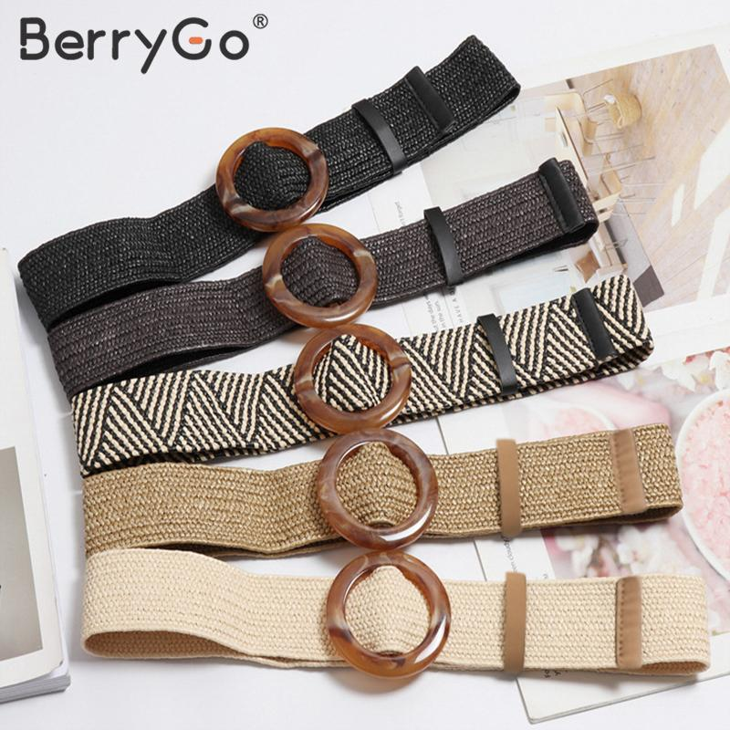 BerryGo Bohemian wide   belt   for women Straw buckle   belt   dress decoration   belt   Casual female braided wide strap   belts   accessories