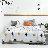 2019 INS Golden Black Dots Stitching Comforter Summer Quilt Cotton Fabric Twin Full Queen Size Bedspread Quilting Blanket