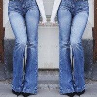 2019 летние новые европейские и американские женские облегающие джинсовые расклешенные брюки женские, тонкие накладные карманы тонкие с выс...