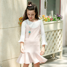 Kids Girls Clothes 2pcs Spring White Solid Color Long Sleeves O-neck Knitted Shirt Vest Dress For 4-16T Girl Sweet Cloth 5cs198