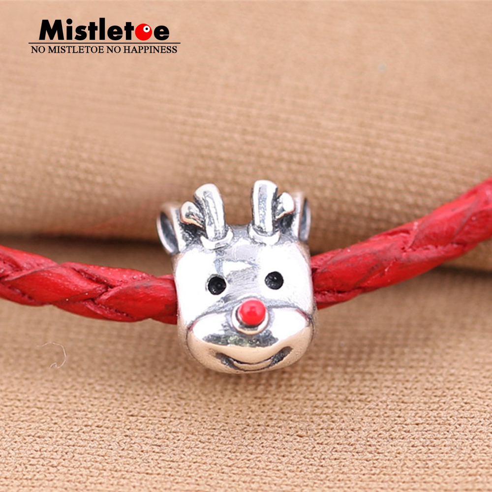 Authentic 925 Sterling Silver Red-Nosed Reindeer, Red Enamel Charm Bead Fit European Bracelet Jewelry