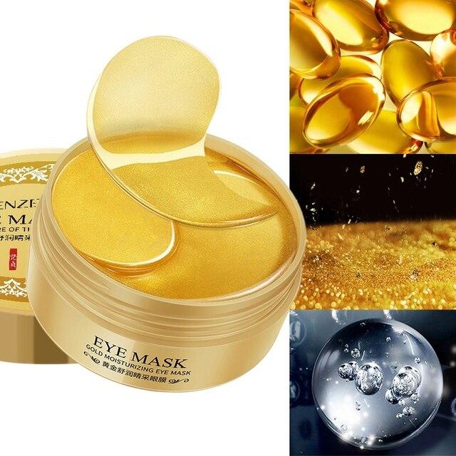 Envío Gratis colágeno de oro 24 K máscaras de ojos naturales parches de Gel para ojos 60 piezas para máscara de sueño removedor de ojos parche de cuidado de los ojos
