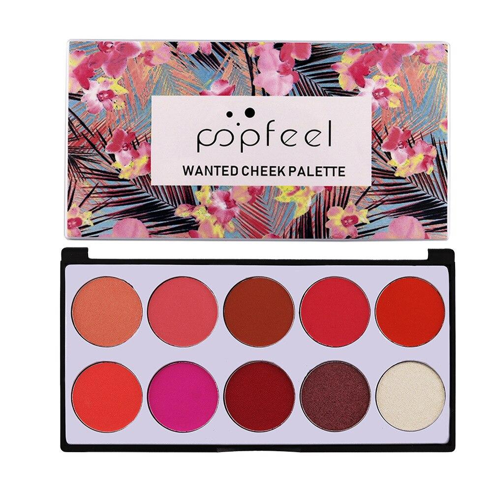 POPFEEL 10 Color Blush Palette The Rouge Tray Brighten Orange Pink Naturally Delicate Gentle Face Cream Contour Makeup Set