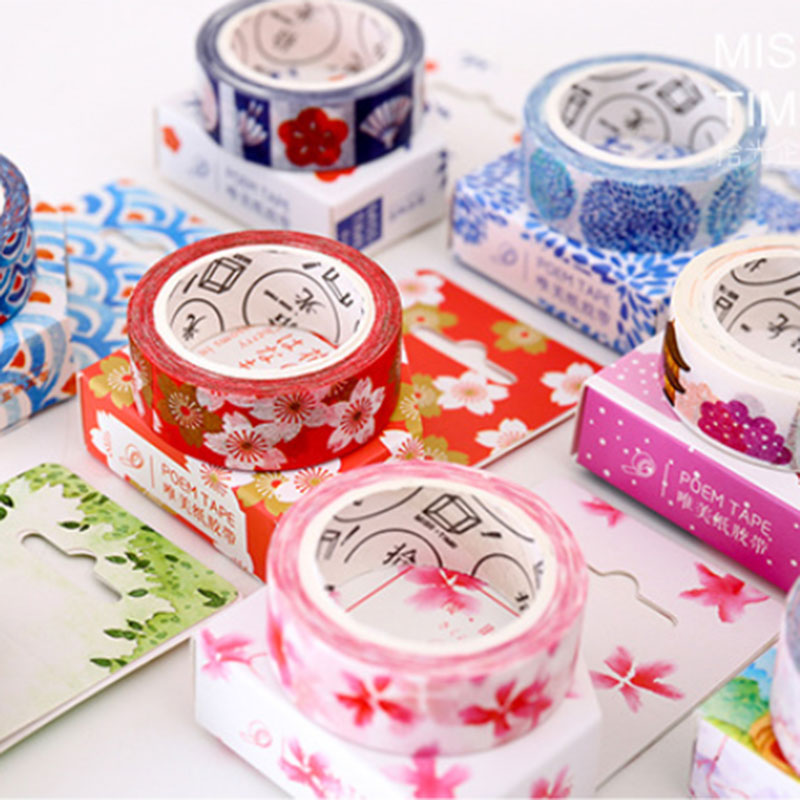 1 pcs Japanese style  1.5 cm X 8 m Kawaii washi tape children DIY Diary decoration masking tape scrapbooking tools 1 x nordic series 1 5cm x 7m kawaii washi tape children diy diary decoration masking tape stationery scrapbooking tool