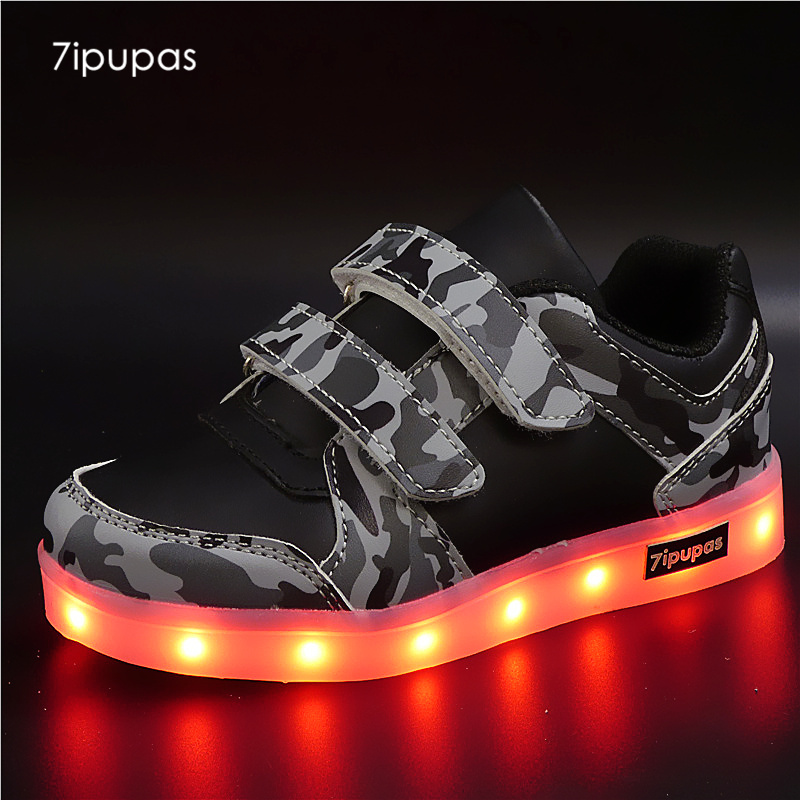 7ipupas camouflage Glowing Sneakers Children kids Led Shoes with usb Boys girls shoes tenis feminino Luminous sneakers