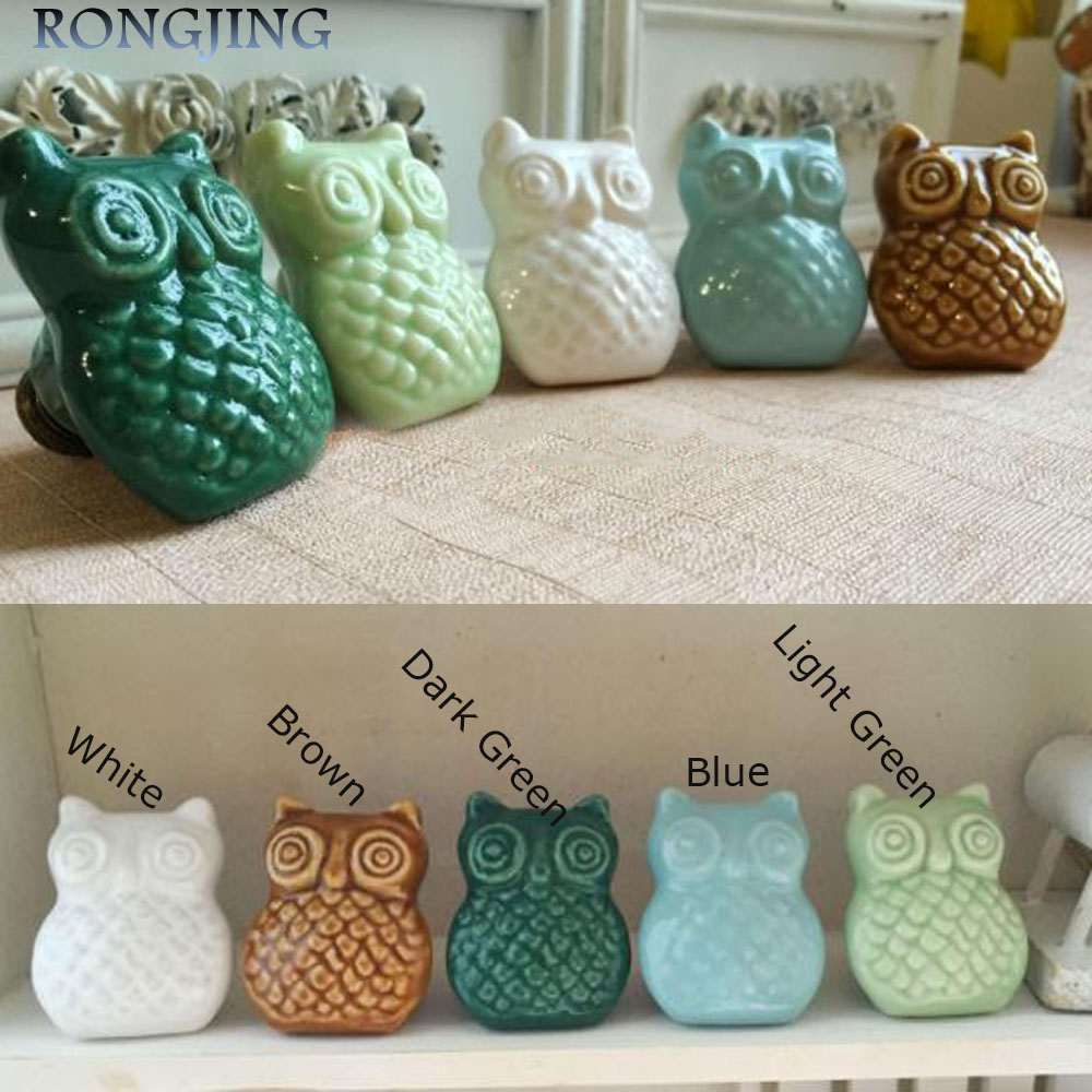 2x OWL Ceramic Cabinet Drawer Knobs Porcelain Kids Wardrobe Handles Furniture Dresser Closet Cupboard Rural Vintage Pulls