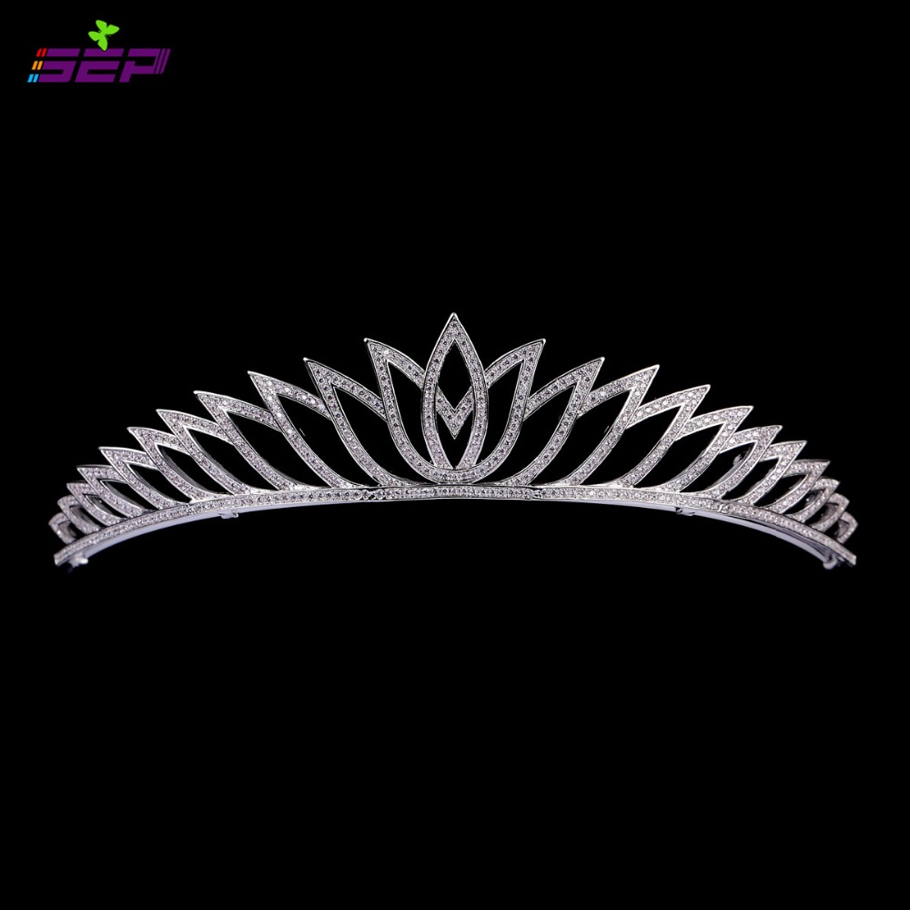 Cubic Zirconia Tiara Crown Micro Pave Cz Tiara Bridal Wedding Hair Jewelry Accessories Women Pageant Crown TR15029