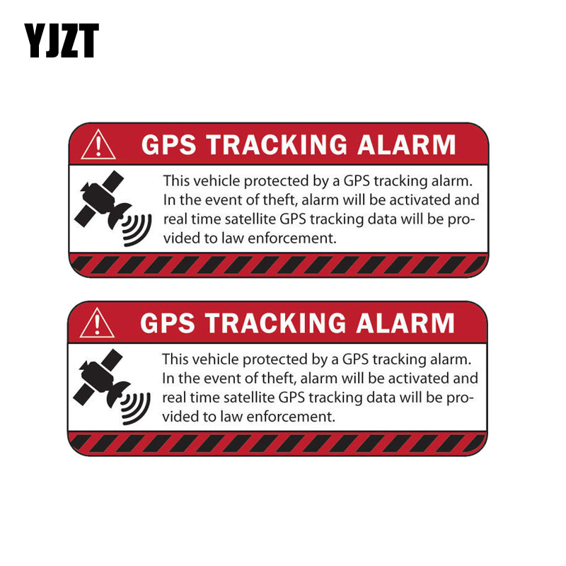 YJZT 13.1CM*4.9CM 2X Car Sticker Reflective WARNING GPS TRACKING ALARM Decal Motorcycle Parts C1-7587