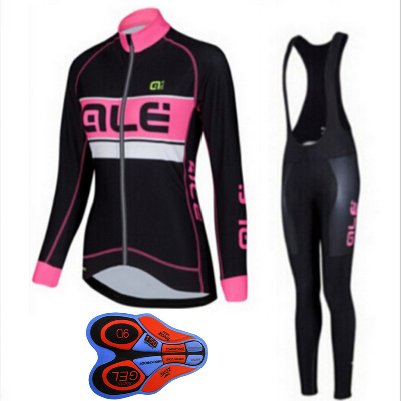 Cycling Jersey 2018 ALE Pro Team Women Bike Long Sleeve bib Pant Set Breathable Bicycle Clothing mujer Maillot Ropa Ciclismo L13 teleyi bike team racing cycling jersey spring long sleeve cycling clothing ropa ciclismo breathable bicycle clothes bike jersey