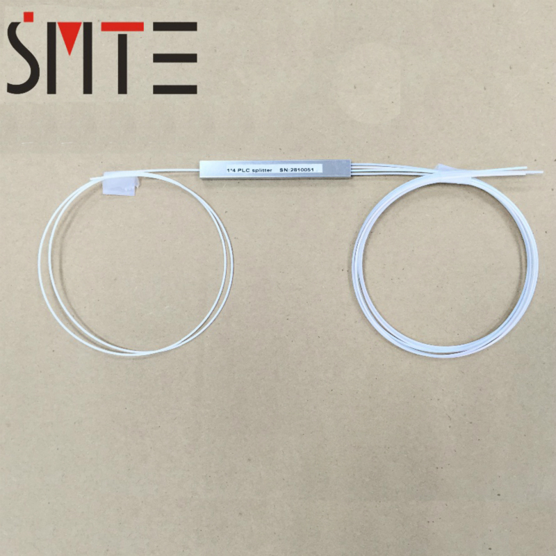 Купить с кэшбэком 5pcs/lot 1 to 4 mini fiber optic PLC Splitter 0.9m micro steel tube 1x4 without connectors fiber pigtail