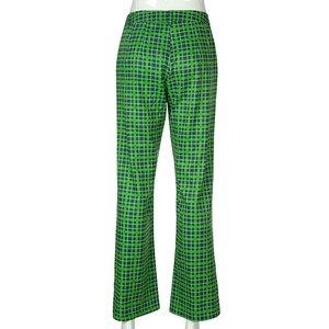 Image 5 - Darlingaga Fashion Green Checkered Harajuku Pants Women Straight Trousers High Waist Plaid Pants Autumn Baggy Pantalones Bottom