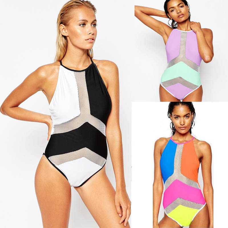 Mesh Monokini White Black High Neck One Piece Swimsuit Female Swimwear 2017 Patchwork Trikini One-Piece Bathing Suit High Waist high neck one piece swimsuit women high cut thong swimwear sexy bandage trikini hollow out mesh bodysuit female zipper monokini
