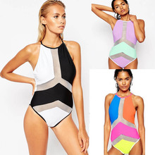 Mesh Monokini White Black High Neck One Piece Swimsuit Female Swimwear 2017 Patchwork Trikini One-Piece Bathing Suit High Waist