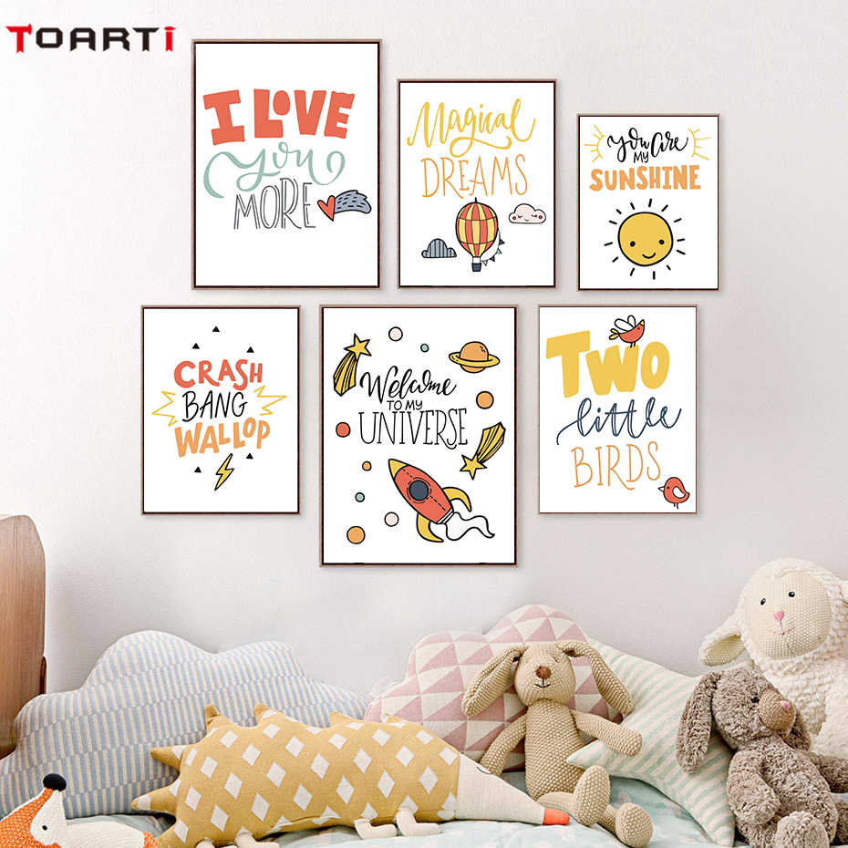 Simple Cute Kids Cartoon Phrase Canvas Painting Posters And Print Pictures Wall Art Life Quotes Baby Bedroom Home Decoration