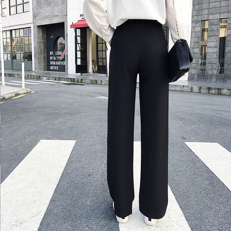 Tall women long pants full length smooth fabric straight wide leg pants female casual loose solid black trousers kpop fashion 4