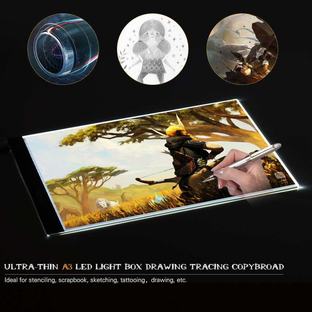 Portable A3 LED Light Pad Box Drawing Tracing Tracer Copy Board Table Pad Panel Led Light Pad Copy Board with Brightness Control