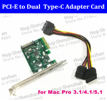 2 ports USB-C USB 3.1 Type-C PCI express Card pci-e 4x to usb3.1 Type C adapter Super Speed for MAC PRO OSX 10.9