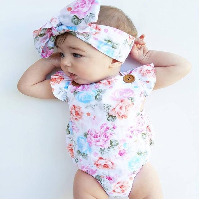 Oklady recién nacido bebé Niñas Ropa cuello cuadrado sin mangas Bodysuit estampado Floral Bowknot diadema 2 PC algodón casual Outfi