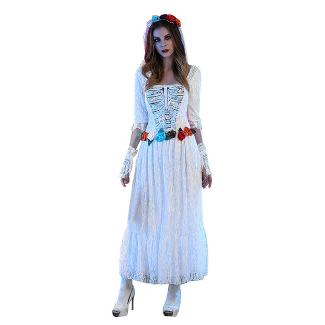 434554215 Nova Louco Branco Noiva Cadáver Traje para Mulheres Adultas Traje Cosplay  Trajes de Halloween Fantasia Cosplay