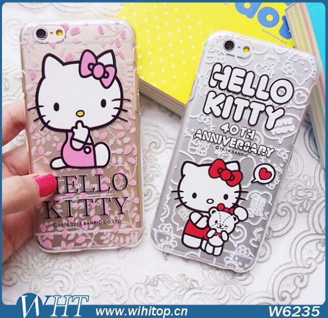 3e851369b 50x Deluxe Hello Kitty Clear Case For iPhone 6 Plus, Cute Hard Printing Case  For iPhone 6 Free DHL