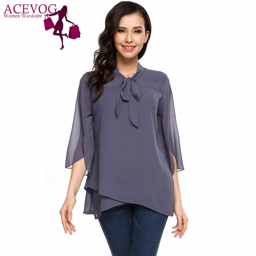 ACEVOG Women Chiffon Blouse Blusas Autumn Split Half Sleeve Hollow Out Asymmetrical Hem Double Layers Bow Lace-up Shirt Top