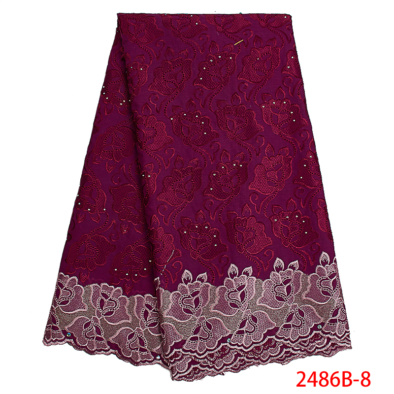 Latest High Quality African Lace Fabric with Stones Swiss Voile Lace Nigerian Cotton Lace Fabrics for