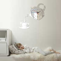 Coffee Cup Teapot 3D LED Wall Clock Creative DIY Acrylic Kitchen Home Decorative Wall Watch For Living Room free shipping