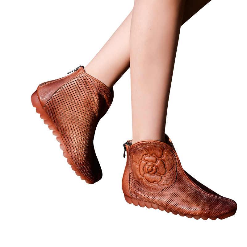 Xiangban Rahat El Yapımı Kadın düz ayakkabı Içi Boş Nefes Yumuşak Tabanlı Yaz Kadın yarım çizmeler K151K3