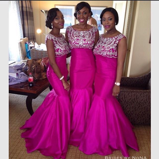 Custom Made Pretty Hot Pink Africa Fashion Bridesmaid Dresses Satin ...