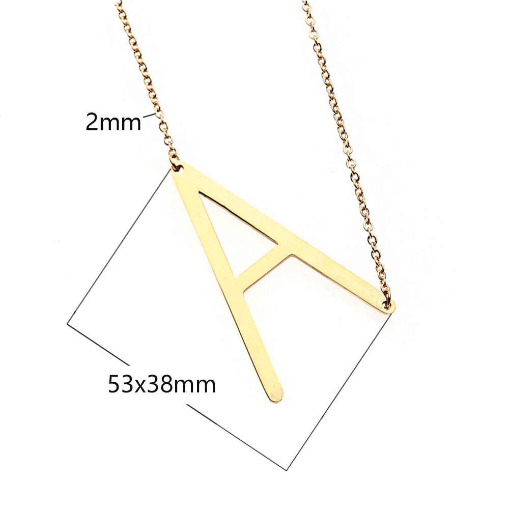 Women Stainless Steel Gold 26 Letters ABC Pendant Necklace Chain Choker Simple Jewelry Chunky Initials Name Necklaces Gift