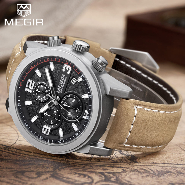 Top Brand Megir Luxury Leather Strap Sports Running Men Watches Casual Aramy Military Chronograp Quartz WrsitWatch Male Clock