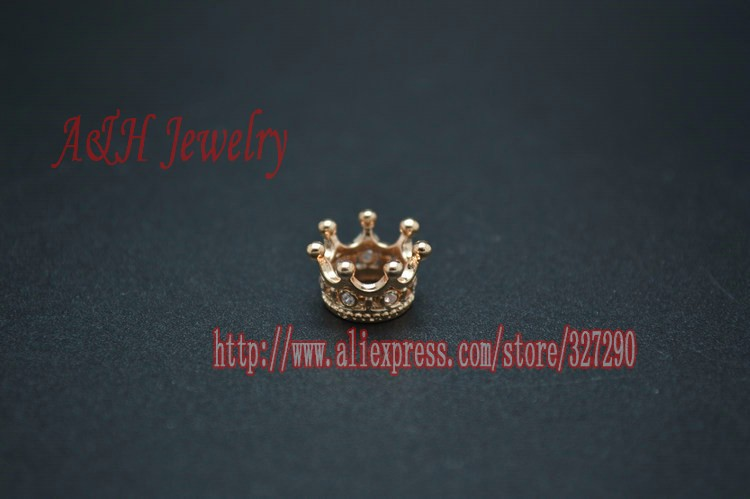 8mm Diameter Rose Gold Color Crown Charms Cz Beads Setting On