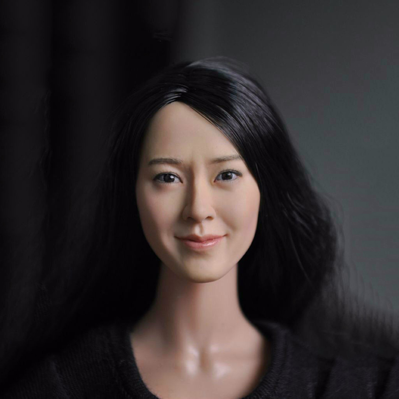 ФОТО Popular 1/6 Scale Female Head Sculpt Model With long hair For 12