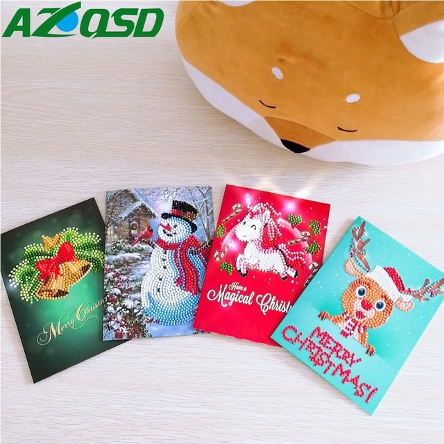 Azqsd Diamond Mosaic Christmas Cartoon Paper Greeting Postcards