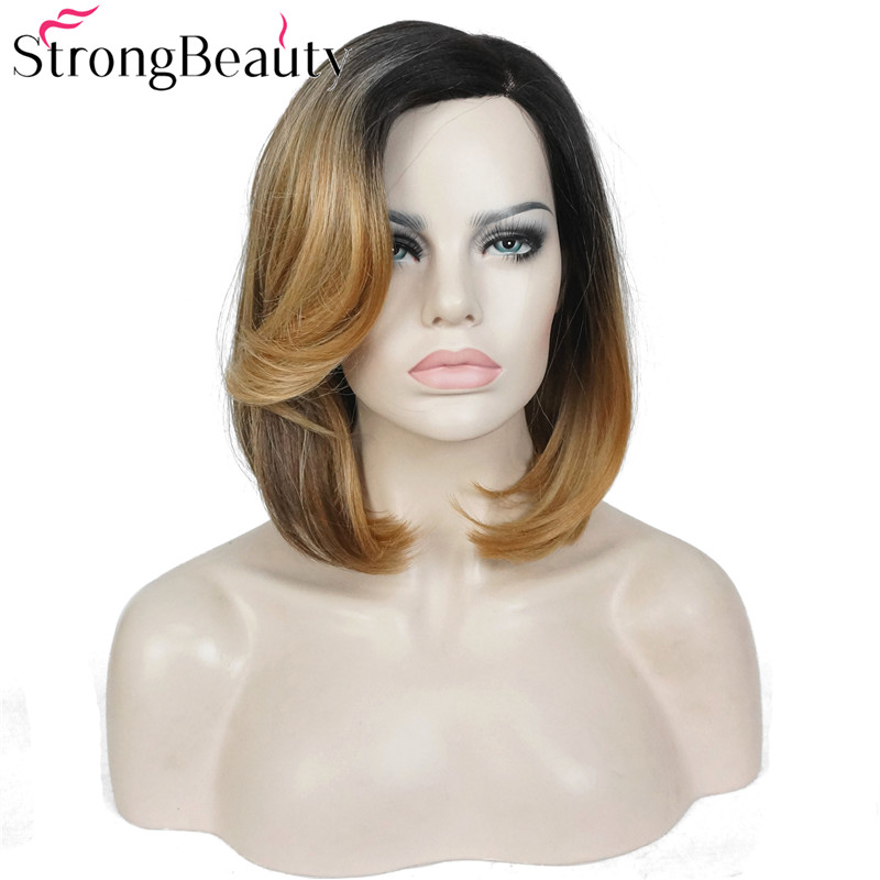 StrongBeauty Bob Lace Wig Synthetic Straight Ombre Medium Length Wigs