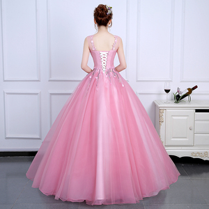 Image 2 - 2020 Sweet and Fresh Evening Dress Backless Sleeveless Ball Gown Romantic Flowers Fashion Elegant Performance Party Design